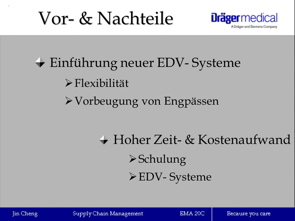 Vor- & Nachteile Einführung neuer EDV- Systeme  Flexibilität  Vorbeugung von Engpässen Hoher Zeit- & Kostenaufwand  Schulung  EDV- Systeme