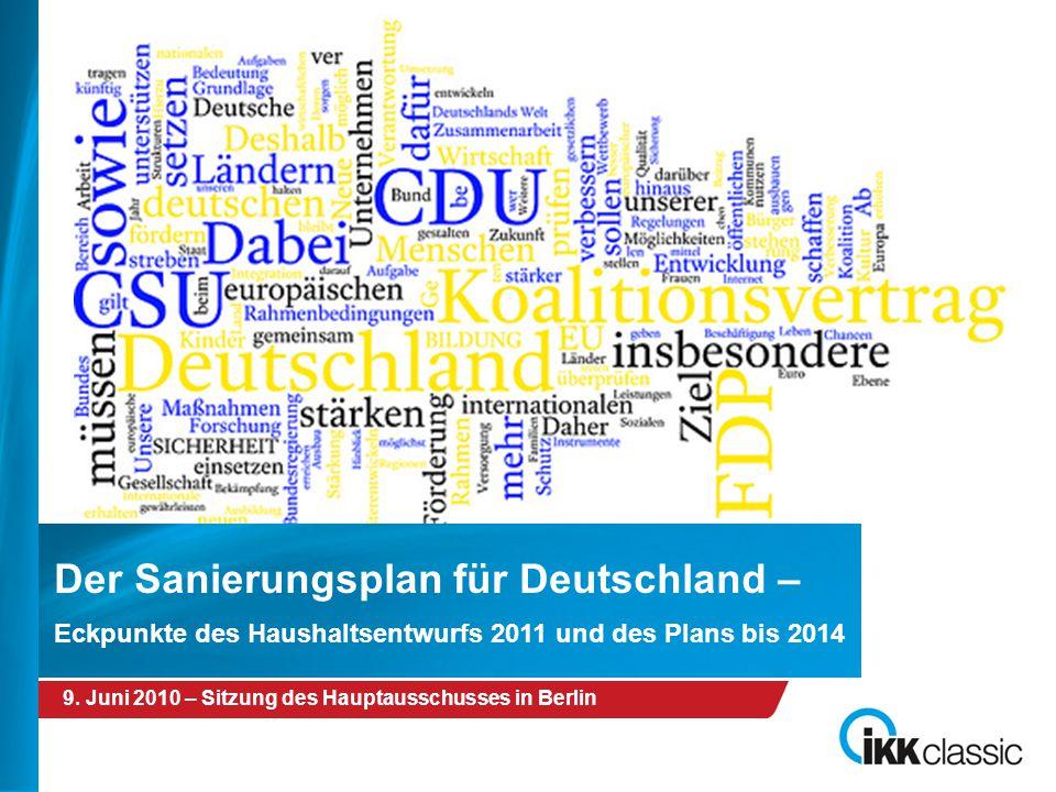 09.06.2010 – Sitzung des Hauptausschusses in Berlin 9. Juni 2010 – Sitzung des Hauptausschusses in Berlin Der Sanierungsplan für Deutschland – Eckpunk