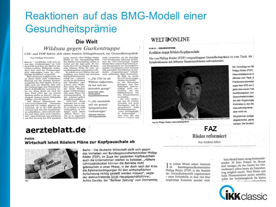 Reaktionen auf das BMG-Modell einer Gesundheitsprämie