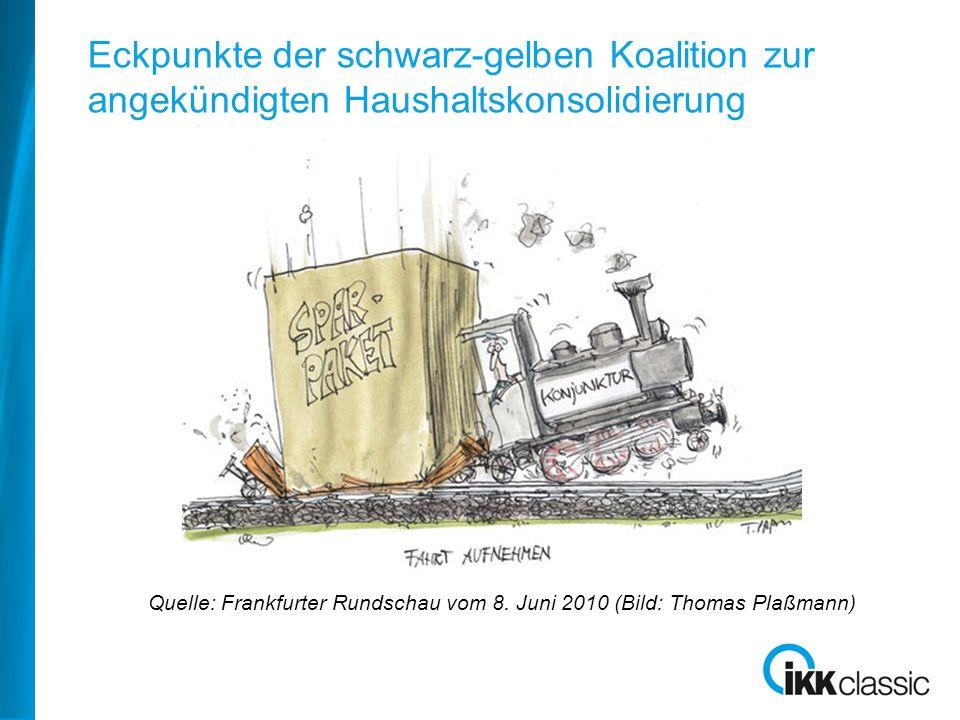 Quelle: Frankfurter Rundschau vom 8. Juni 2010 (Bild: Thomas Plaßmann) Eckpunkte der schwarz-gelben Koalition zur angekündigten Haushaltskonsolidierun