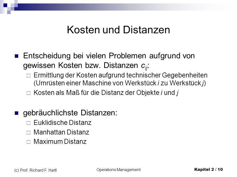 Operations Management Kapitel 2 / 10 (c) Prof. Richard F. Hartl Kosten und Distanzen Entscheidung bei vielen Problemen aufgrund von gewissen Kosten bz