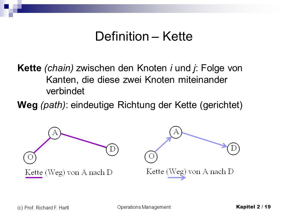 Operations Management Kapitel 2 / 19 (c) Prof. Richard F. Hartl Definition – Kette Kette (chain) zwischen den Knoten i und j: Folge von Kanten, die di