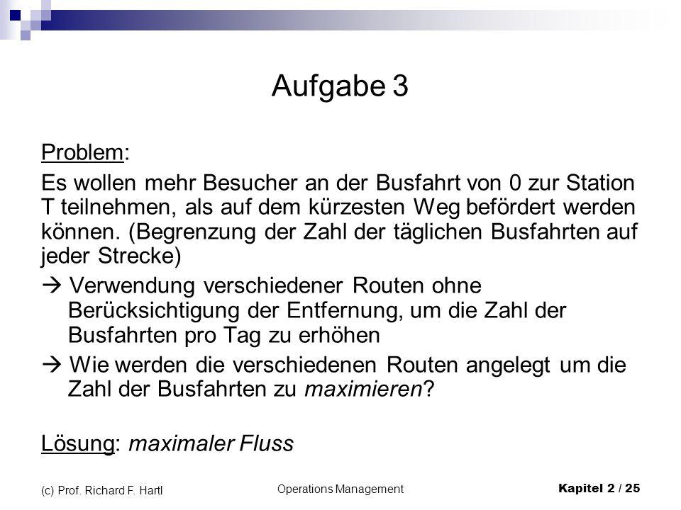 Operations Management Kapitel 2 / 25 (c) Prof. Richard F. Hartl Aufgabe 3 Problem: Es wollen mehr Besucher an der Busfahrt von 0 zur Station T teilneh