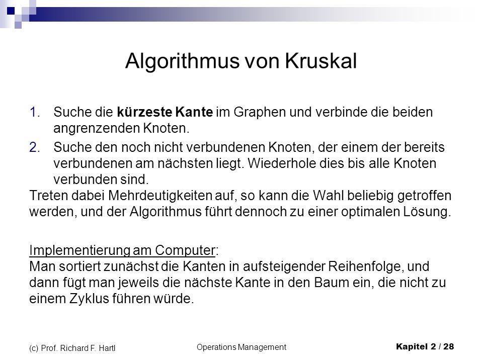 Operations Management Kapitel 2 / 28 (c) Prof. Richard F. Hartl Algorithmus von Kruskal 1.Suche die kürzeste Kante im Graphen und verbinde die beiden