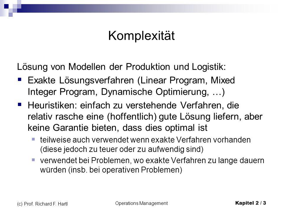 Operations Management Kapitel 2 / 3 (c) Prof. Richard F. Hartl Komplexität Lösung von Modellen der Produktion und Logistik:  Exakte Lösungsverfahren