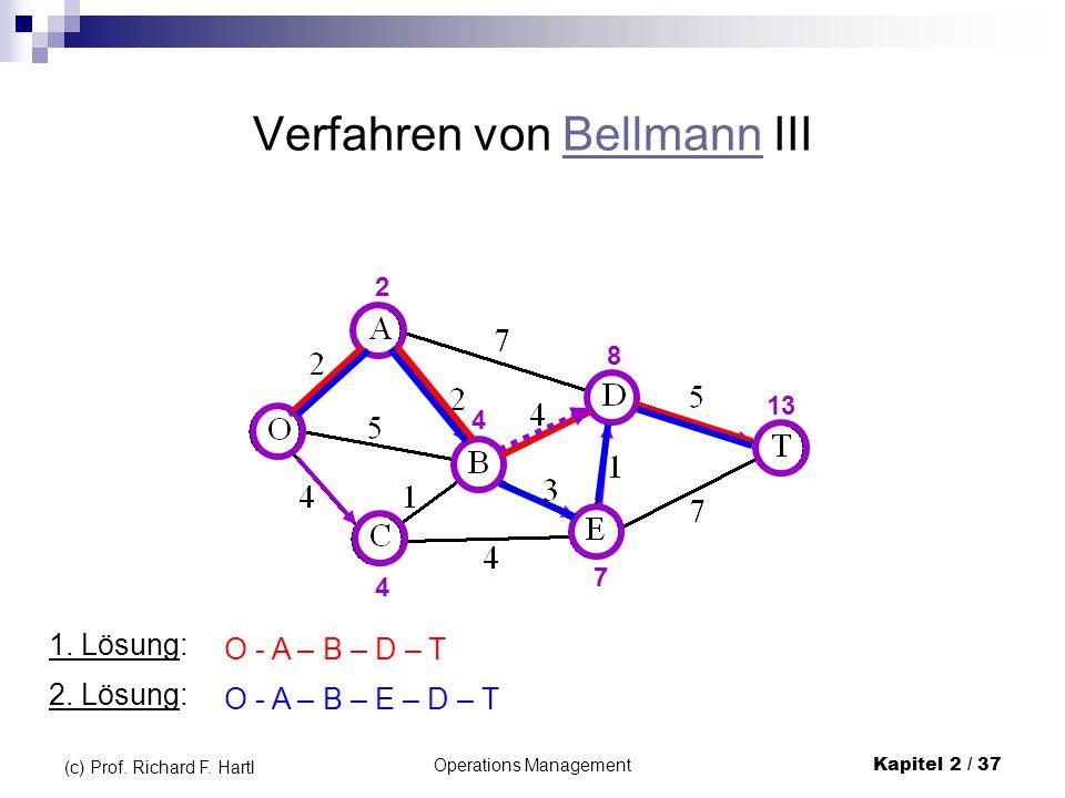 Operations Management Kapitel 2 / 37 (c) Prof. Richard F. Hartl Verfahren von Bellmann IIIBellmann 2 4 4 7 8 13 1. Lösung: O - A – B – D – T 2. Lösung