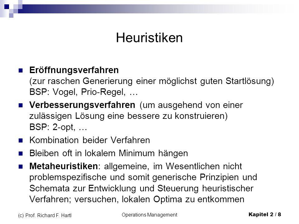 Operations Management Kapitel 2 / 8 (c) Prof. Richard F. Hartl Heuristiken Eröffnungsverfahren (zur raschen Generierung einer möglichst guten Startlös