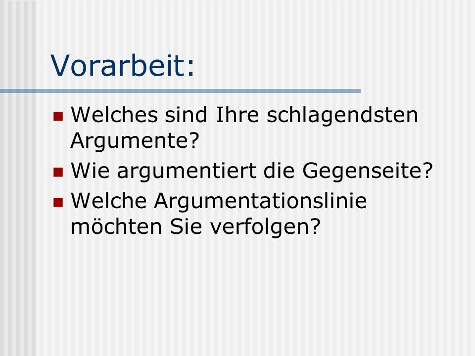 Vorarbeit: Welches sind Ihre schlagendsten Argumente? Wie argumentiert die Gegenseite? Welche Argumentationslinie möchten Sie verfolgen?