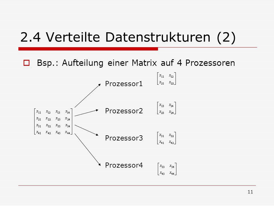 11 2.4 Verteilte Datenstrukturen (2)  Bsp.: Aufteilung einer Matrix auf 4 Prozessoren Prozessor1 Prozessor2 Prozessor3 Prozessor4