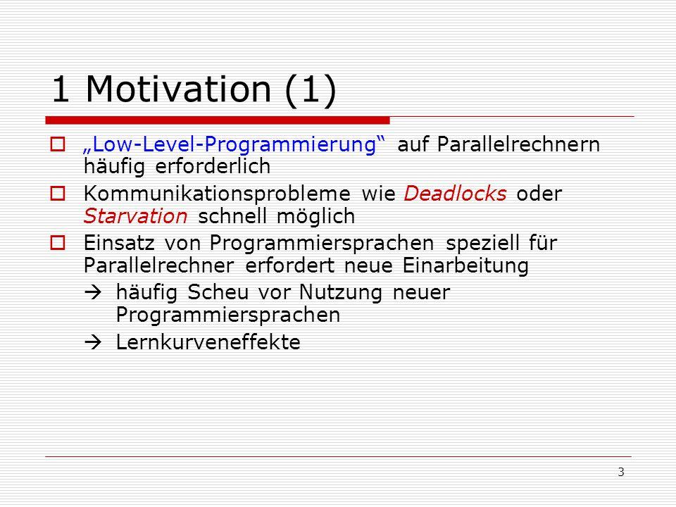 """3 1 Motivation (1)  """"Low-Level-Programmierung"""" auf Parallelrechnern häufig erforderlich  Kommunikationsprobleme wie Deadlocks oder Starvation schnel"""