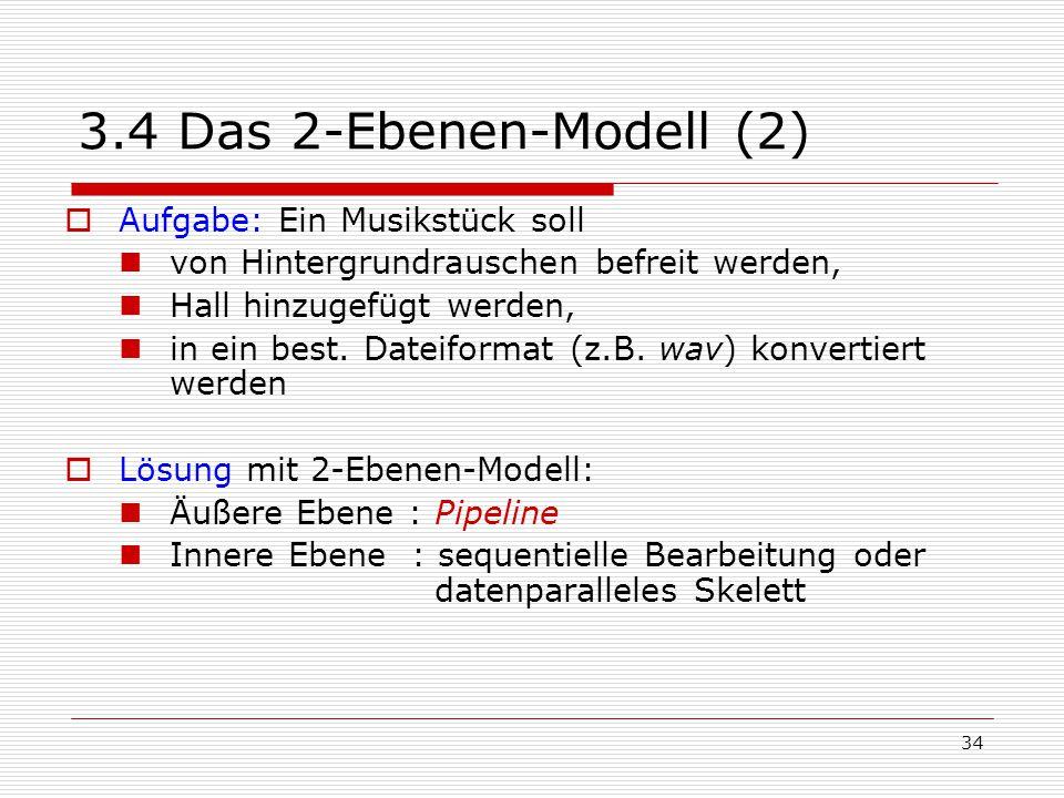 34 3.4 Das 2-Ebenen-Modell (2)  Aufgabe: Ein Musikstück soll von Hintergrundrauschen befreit werden, Hall hinzugefügt werden, in ein best. Dateiforma