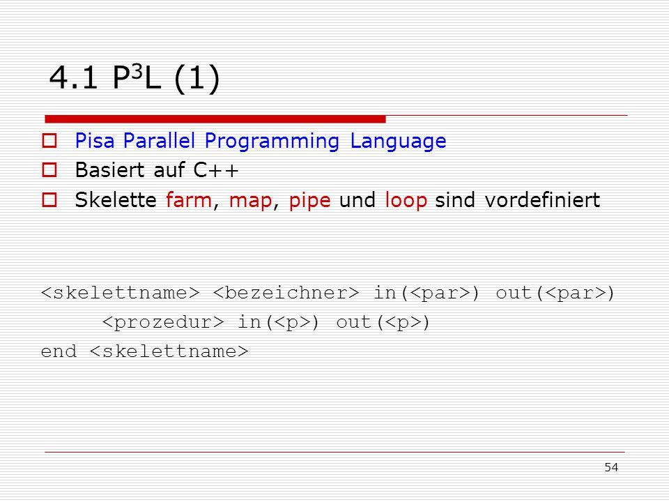 54 4.1 P 3 L (1)  Pisa Parallel Programming Language  Basiert auf C++  Skelette farm, map, pipe und loop sind vordefiniert in( ) out( ) end