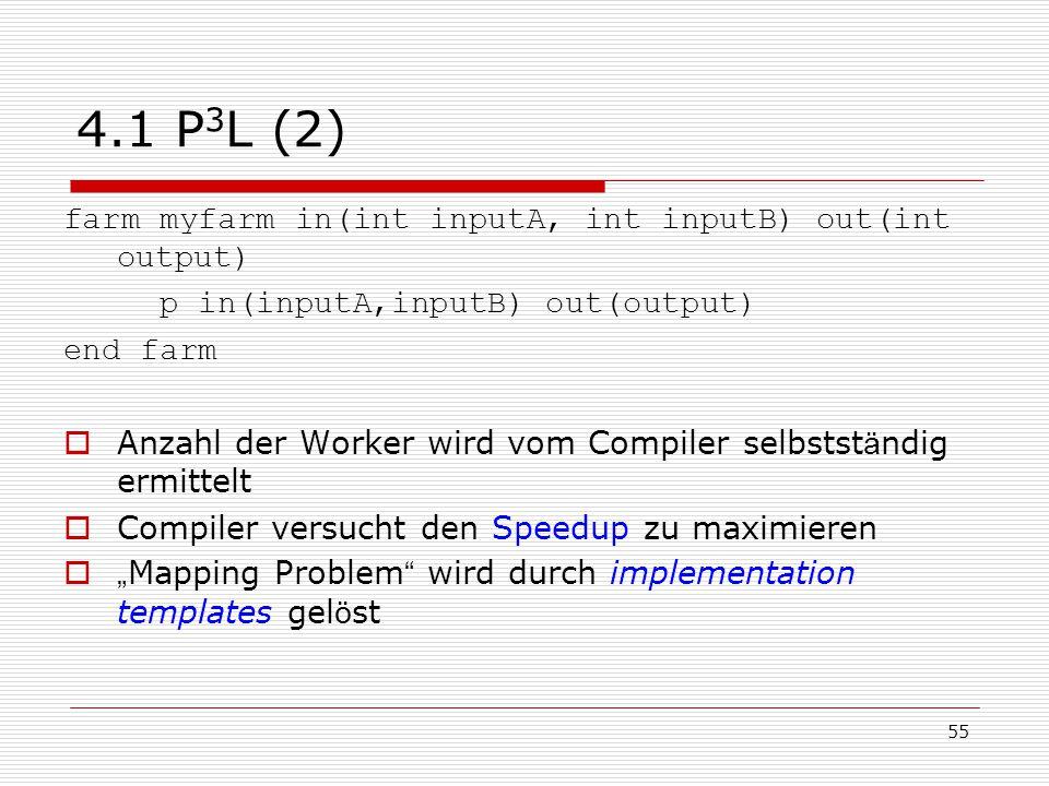 55 4.1 P 3 L (2) farm myfarm in(int inputA, int inputB) out(int output) p in(inputA,inputB) out(output) end farm  Anzahl der Worker wird vom Compiler