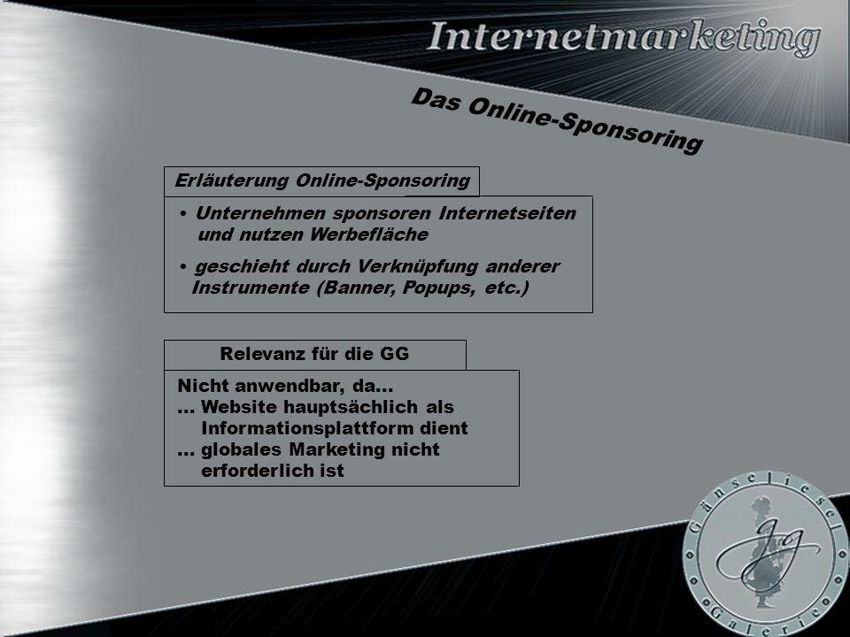 Das Online-Sponsoring Relevanz für die GG Erläuterung Online-Sponsoring Unternehmen sponsoren Internetseiten und nutzen Werbefläche geschieht durch Verknüpfung anderer Instrumente (Banner, Popups, etc.) Nicht anwendbar, da......