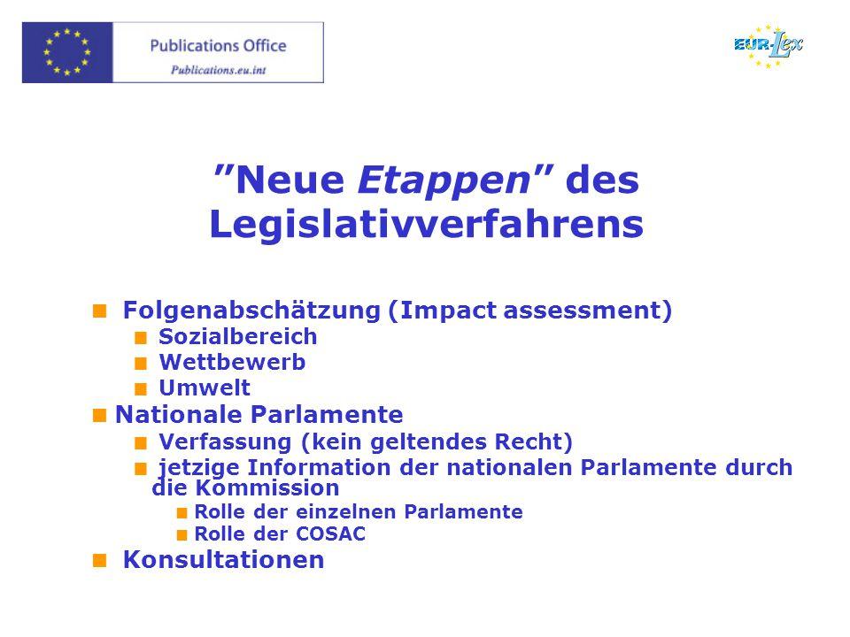 """Neue Etappen"" des Legislativverfahrens  Folgenabschätzung (Impact assessment)  Sozialbereich  Wettbewerb  Umwelt  Nationale Parlamente  Verfass"