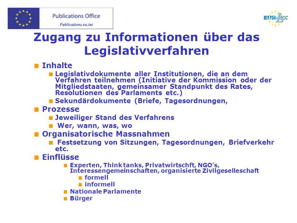 Zugang zu Informationen über das Legislativverfahren  Inhalte  Legislativdokumente aller Institutionen, die an dem Verfahren teilnehmen (Initiative