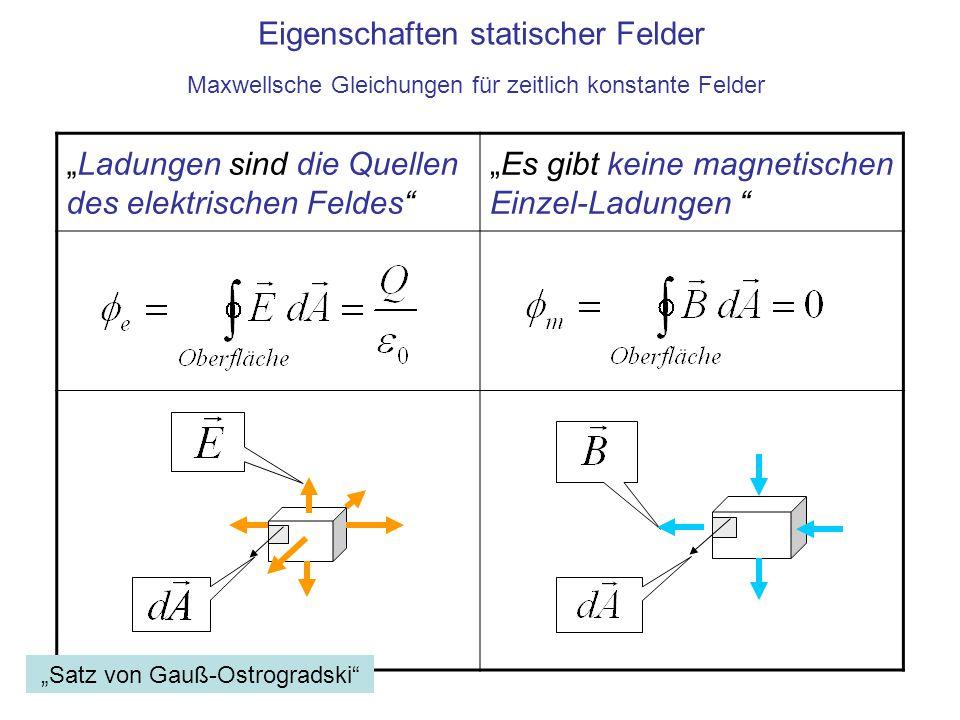"""""""Ladungen sind die Quellen des elektrischen Feldes"""" """"Es gibt keine magnetischen Einzel-Ladungen """" Eigenschaften statischer Felder Maxwellsche Gleichun"""