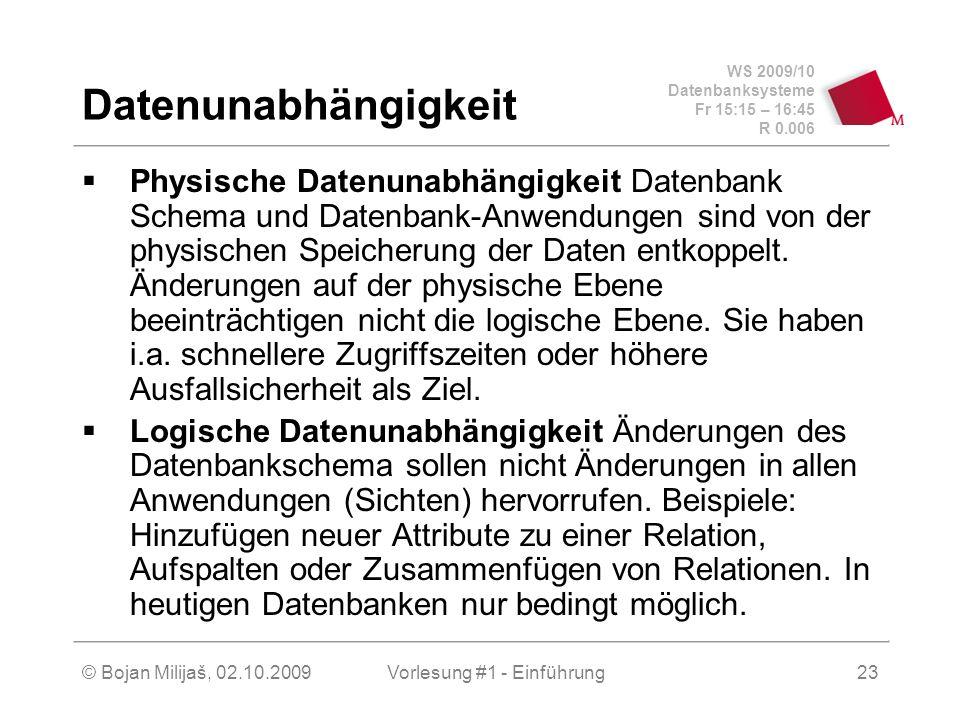WS 2009/10 Datenbanksysteme Fr 15:15 – 16:45 R 0.006 © Bojan Milijaš, 02.10.2009Vorlesung #1 - Einführung23 Datenunabhängigkeit  Physische Datenunabhängigkeit Datenbank Schema und Datenbank-Anwendungen sind von der physischen Speicherung der Daten entkoppelt.