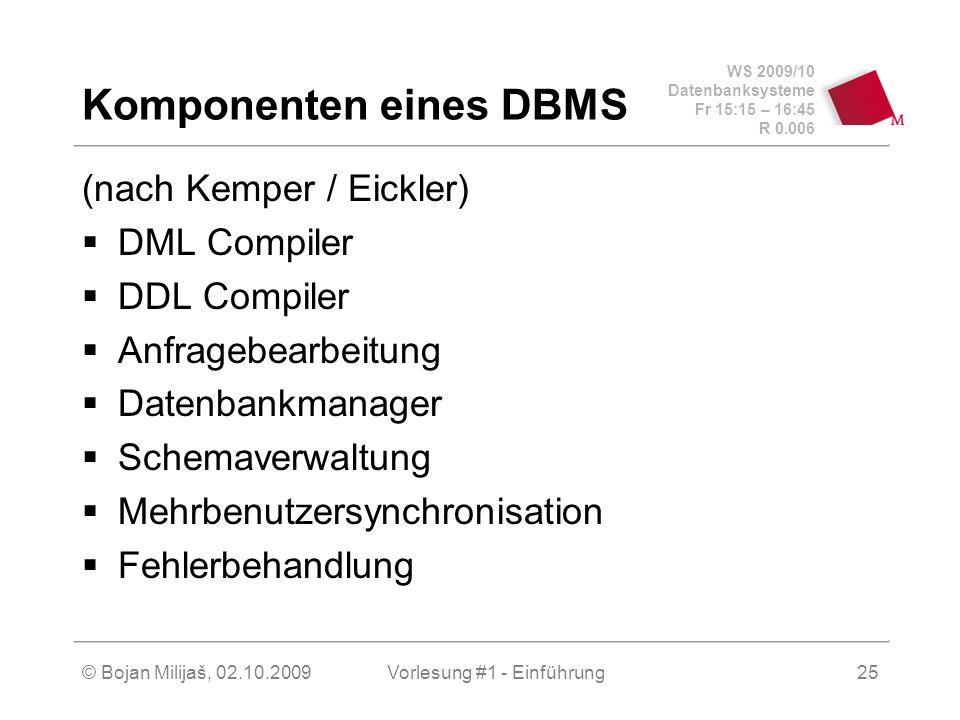 WS 2009/10 Datenbanksysteme Fr 15:15 – 16:45 R 0.006 © Bojan Milijaš, 02.10.2009Vorlesung #1 - Einführung25 Komponenten eines DBMS (nach Kemper / Eickler)  DML Compiler  DDL Compiler  Anfragebearbeitung  Datenbankmanager  Schemaverwaltung  Mehrbenutzersynchronisation  Fehlerbehandlung