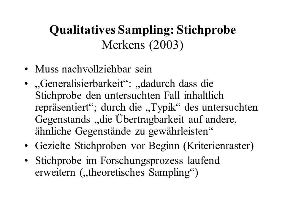 """Qualitatives Sampling: Stichprobe Merkens (2003) Muss nachvollziehbar sein """"Generalisierbarkeit : """"dadurch dass die Stichprobe den untersuchten Fall inhaltlich repräsentiert ; durch die """"Typik des untersuchten Gegenstands """"die Übertragbarkeit auf andere, ähnliche Gegenstände zu gewährleisten Gezielte Stichproben vor Beginn (Kriterienraster) Stichprobe im Forschungsprozess laufend erweitern (""""theoretisches Sampling )"""