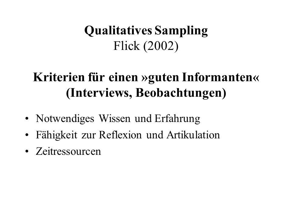 Qualitatives Sampling Flick (2002) Kriterien für einen »guten Informanten« (Interviews, Beobachtungen) Notwendiges Wissen und Erfahrung Fähigkeit zur Reflexion und Artikulation Zeitressourcen