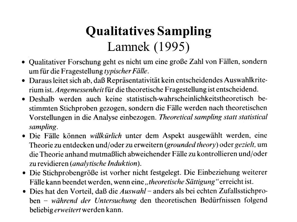 Qualitatives Sampling Lamnek (1995)