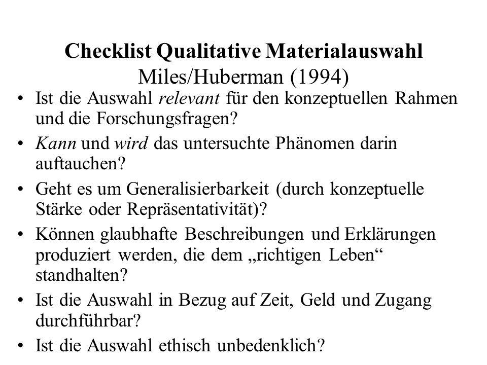 Checklist Qualitative Materialauswahl Miles/Huberman (1994) Ist die Auswahl relevant für den konzeptuellen Rahmen und die Forschungsfragen? Kann und w