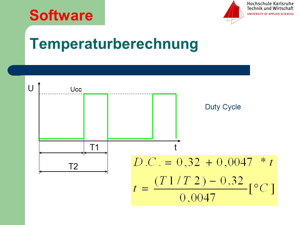 Temperaturberechnung U t T1 T2 Software Ucc Duty Cycle