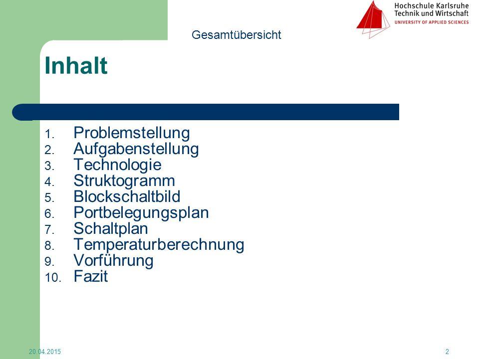 Inhalt 1. Problemstellung 2. Aufgabenstellung 3. Technologie 4. Struktogramm 5. Blockschaltbild 6. Portbelegungsplan 7. Schaltplan 8. Temperaturberech