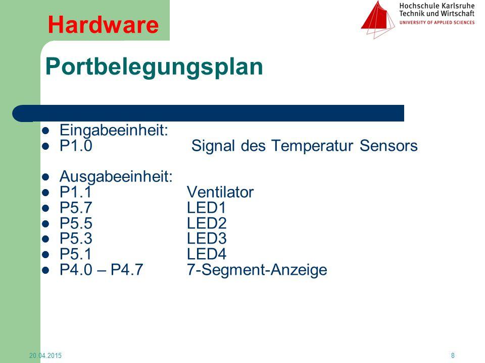Portbelegungsplan Eingabeeinheit: P1.0 Signal des Temperatur Sensors Ausgabeeinheit: P1.1 Ventilator P5.7 LED1 P5.5 LED2 P5.3 LED3 P5.1 LED4 P4.0 – P4