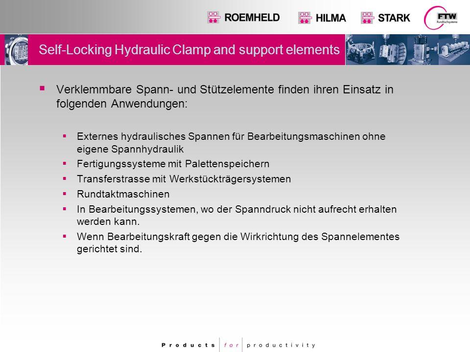 Self-Locking Hydraulic Clamp and support elements  Verklemmbare Spann- und Stützelemente finden ihren Einsatz in folgenden Anwendungen:  Externes hy
