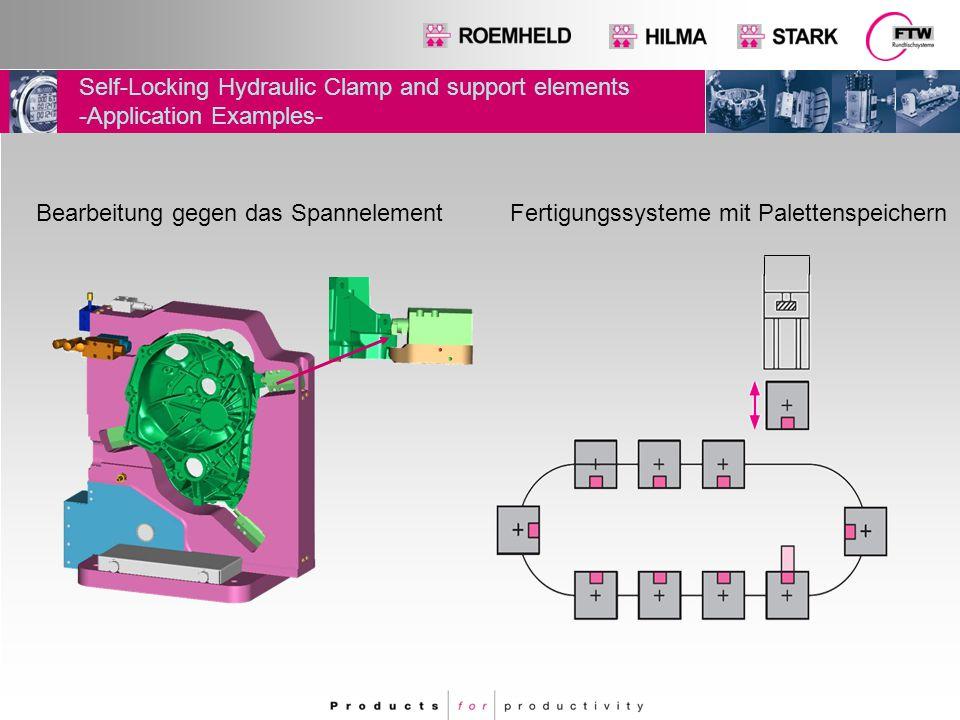 Self-Locking Hydraulic Clamp and support elements  Auswahl der verfügbaren Elemente  Blockspannpratze  Abstützelement  Spann- und Stützelemente  Schwenkspanner (auf Anfrage)  Blockzylinder (auf Anfrage)