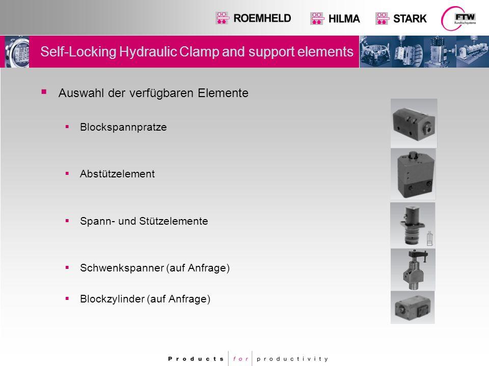 Self-Locking Hydraulic Clamp and support elements -Clamping principle with lock Klemmkolben Kolbenstange Der Klemmkolben wird hydraulisch selbsthemmend verklemmt und gelöst.