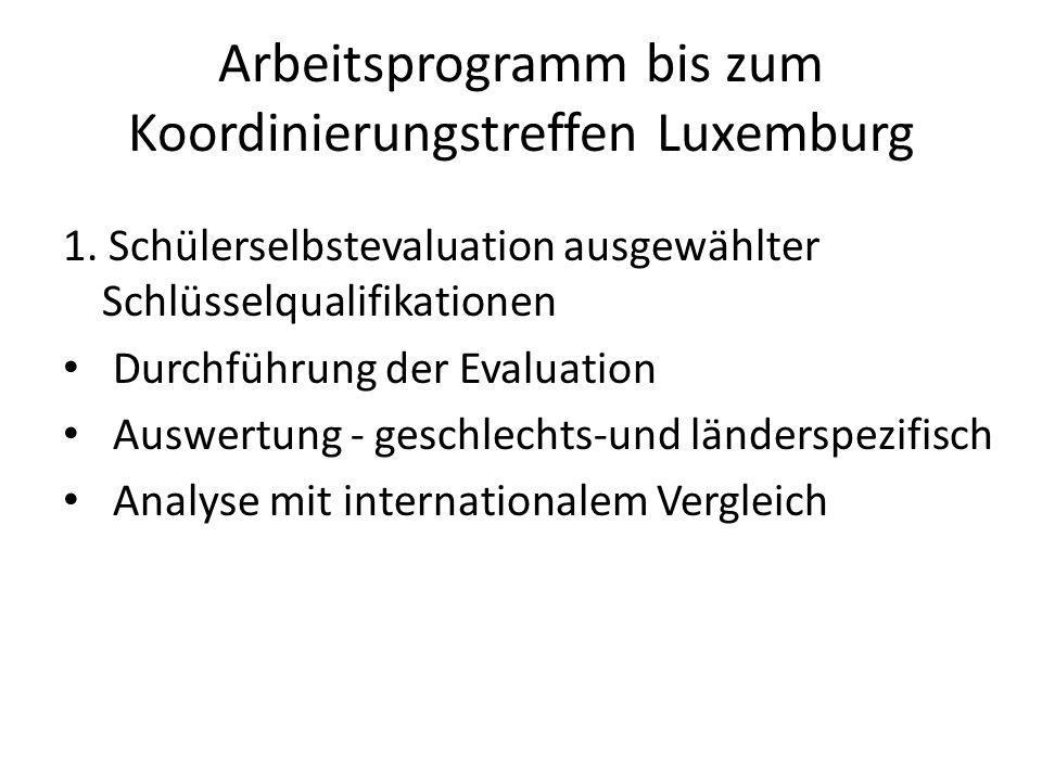 Arbeitsprogramm bis zum Koordinierungstreffen Luxemburg 1.
