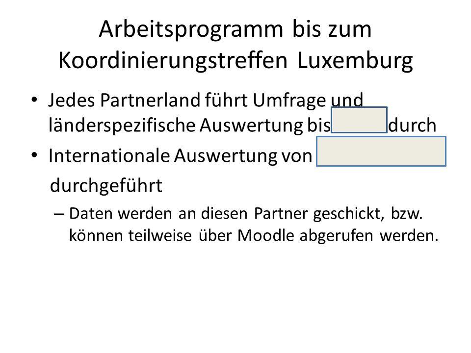 Arbeitsprogramm bis zum Koordinierungstreffen Luxemburg Jedes Partnerland führt Umfrage und länderspezifische Auswertung bis durch Internationale Auswertung von durchgeführt – Daten werden an diesen Partner geschickt, bzw.