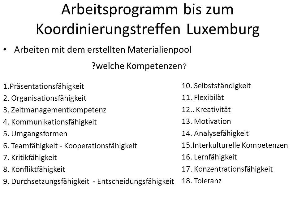 Arbeitsprogramm bis zum Koordinierungstreffen Luxemburg Arbeiten mit dem erstellten Materialienpool 1.Präsentationsfähigkeit 2.