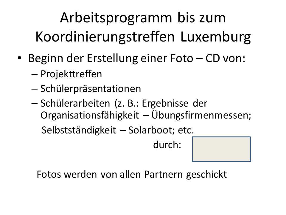 Arbeitsprogramm bis zum Koordinierungstreffen Luxemburg Beginn der Erstellung einer Foto – CD von: – Projekttreffen – Schülerpräsentationen – Schülerarbeiten (z.