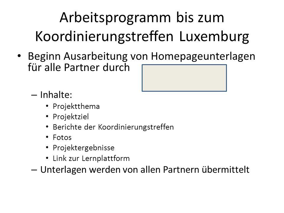 Arbeitsprogramm bis zum Koordinierungstreffen Luxemburg Beginn Ausarbeitung von Homepageunterlagen für alle Partner durch – Inhalte: Projektthema Projektziel Berichte der Koordinierungstreffen Fotos Projektergebnisse Link zur Lernplattform – Unterlagen werden von allen Partnern übermittelt