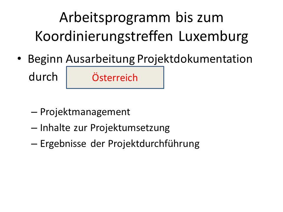 Arbeitsprogramm bis zum Koordinierungstreffen Luxemburg Beginn Ausarbeitung Projektdokumentation durch – Projektmanagement – Inhalte zur Projektumsetzung – Ergebnisse der Projektdurchführung Österreich