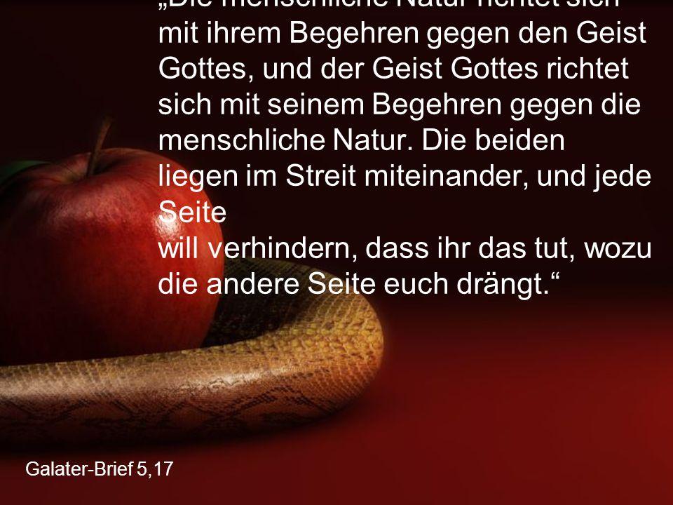 """Galater-Brief 5,17 """"Die menschliche Natur richtet sich mit ihrem Begehren gegen den Geist Gottes, und der Geist Gottes richtet sich mit seinem Begehre"""