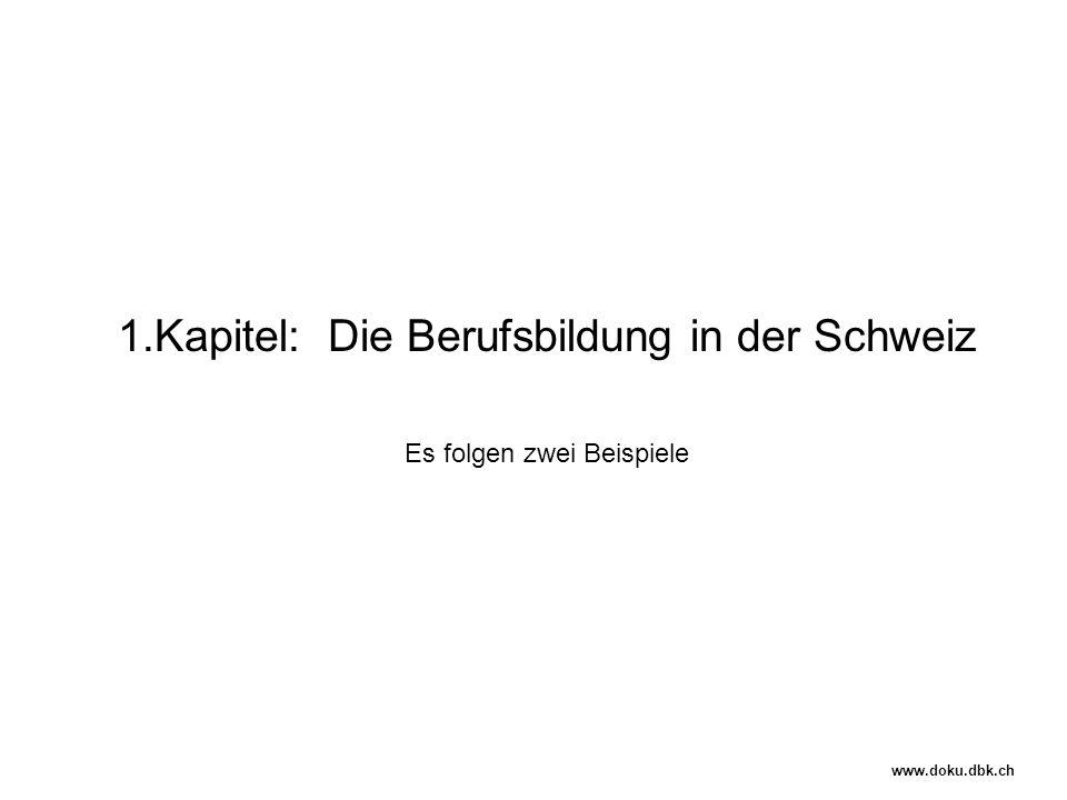 1.Kapitel: Die Berufsbildung in der Schweiz Es folgen zwei Beispiele www.doku.dbk.ch