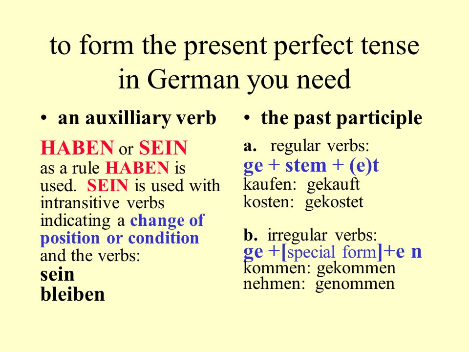 to form the present perfect tense in German you need an auxilliary verb HABEN or SEIN as a rule HABEN is used.