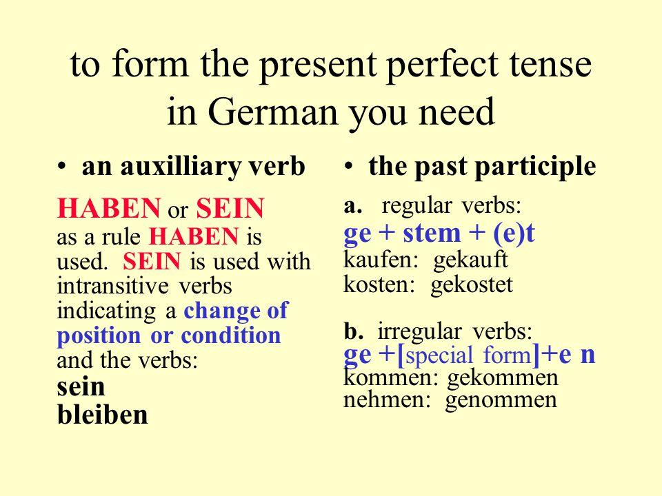 Present Perfect Tense incl.modal Present tense: Ich rufe dich an.