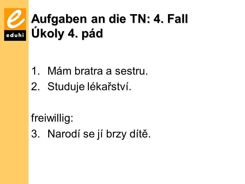 Aufgaben an die TN: 4.Fall Úkoly 4. pád 1.Mám bratra a sestru.