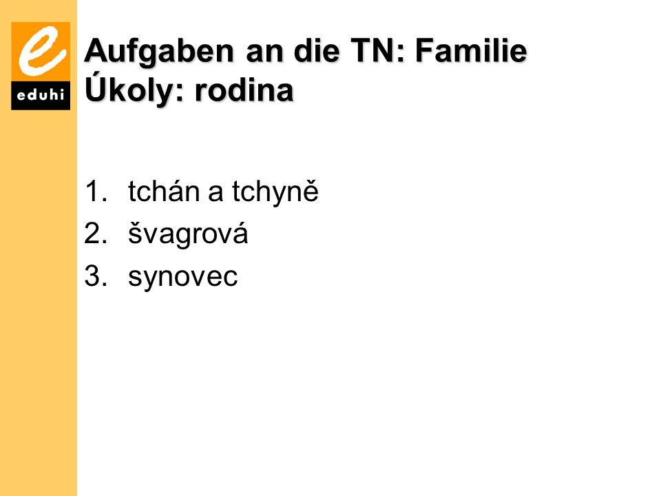 Aufgaben an die TN: Familie Úkoly: rodina 1.tchán a tchyně 2.švagrová 3.synovec