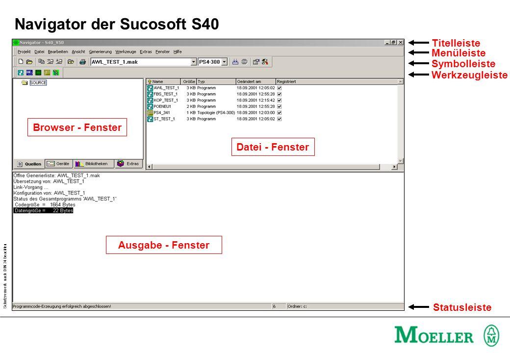 Schutzvermerk nach DIN 34 beachten Browser - Fenster Ausgabe - Fenster Datei - Fenster Titelleiste Menüleiste Symbolleiste Werkzeugleiste Statusleiste Navigator der Sucosoft S40