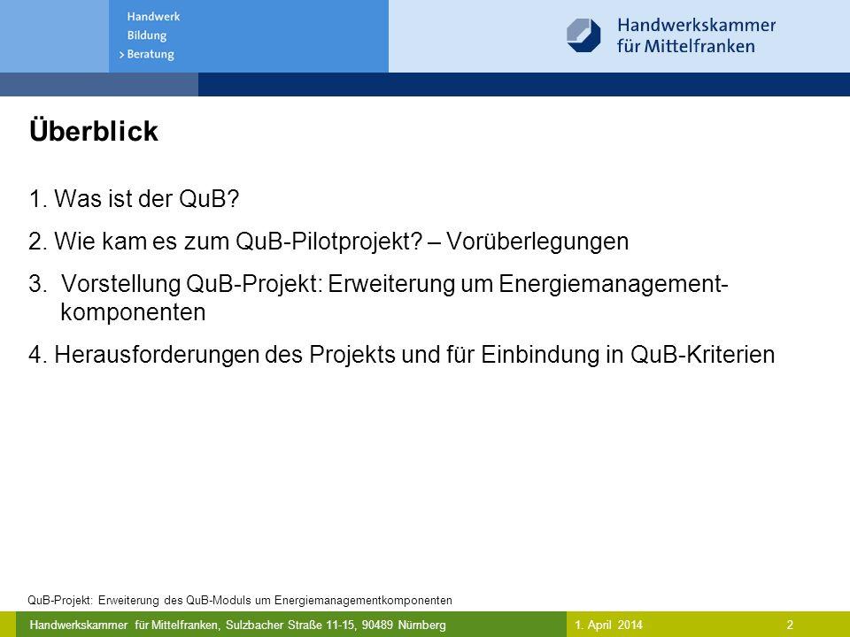 Handwerkskammer für Mittelfranken, Sulzbacher Straße 11-15, 90489 Nürnberg Was ist der Qualitätsverbund umweltbewusster Betriebe (QuB).