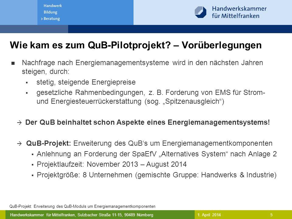Handwerkskammer für Mittelfranken, Sulzbacher Straße 11-15, 90489 Nürnberg Wie kam es zum QuB-Pilotprojekt.