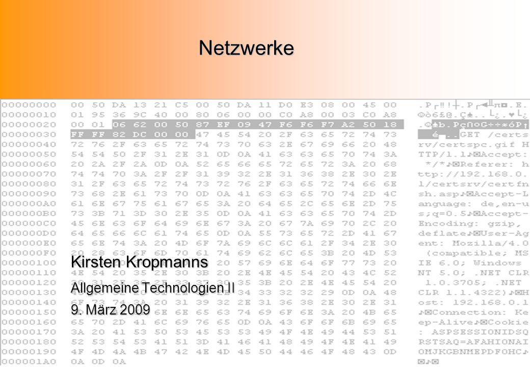 Netzwerke Kirsten Kropmanns Allgemeine Technologien II 9. März 2009