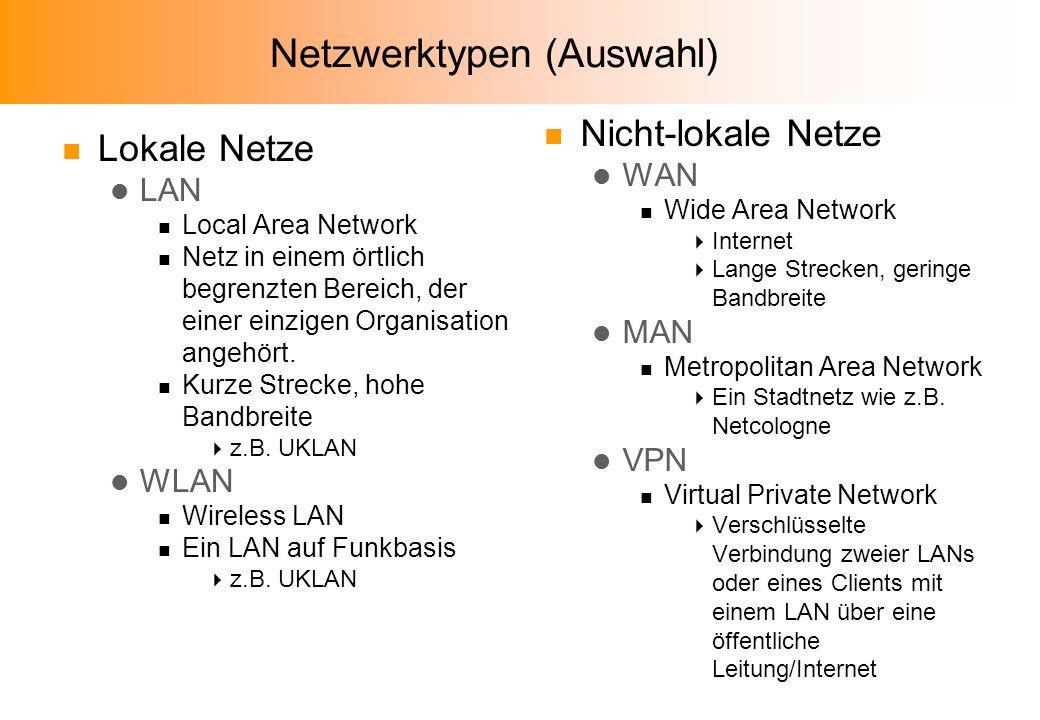 Netzwerktypen (Auswahl) n Lokale Netze l LAN n Local Area Network n Netz in einem örtlich begrenzten Bereich, der einer einzigen Organisation angehört.